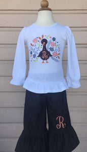 Floral turkey monogram fall  outfit