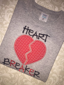 Heart breaker applique Valentine  tee