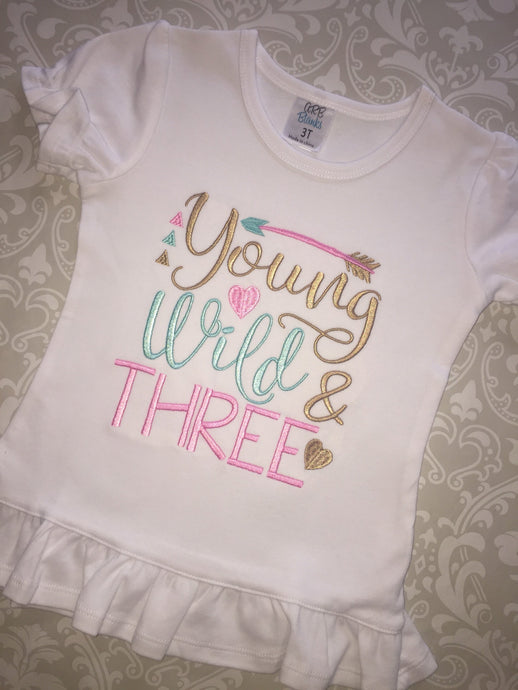 Young Wild and Three third birthday tee
