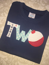 Fishing Two applique Second birthday tee