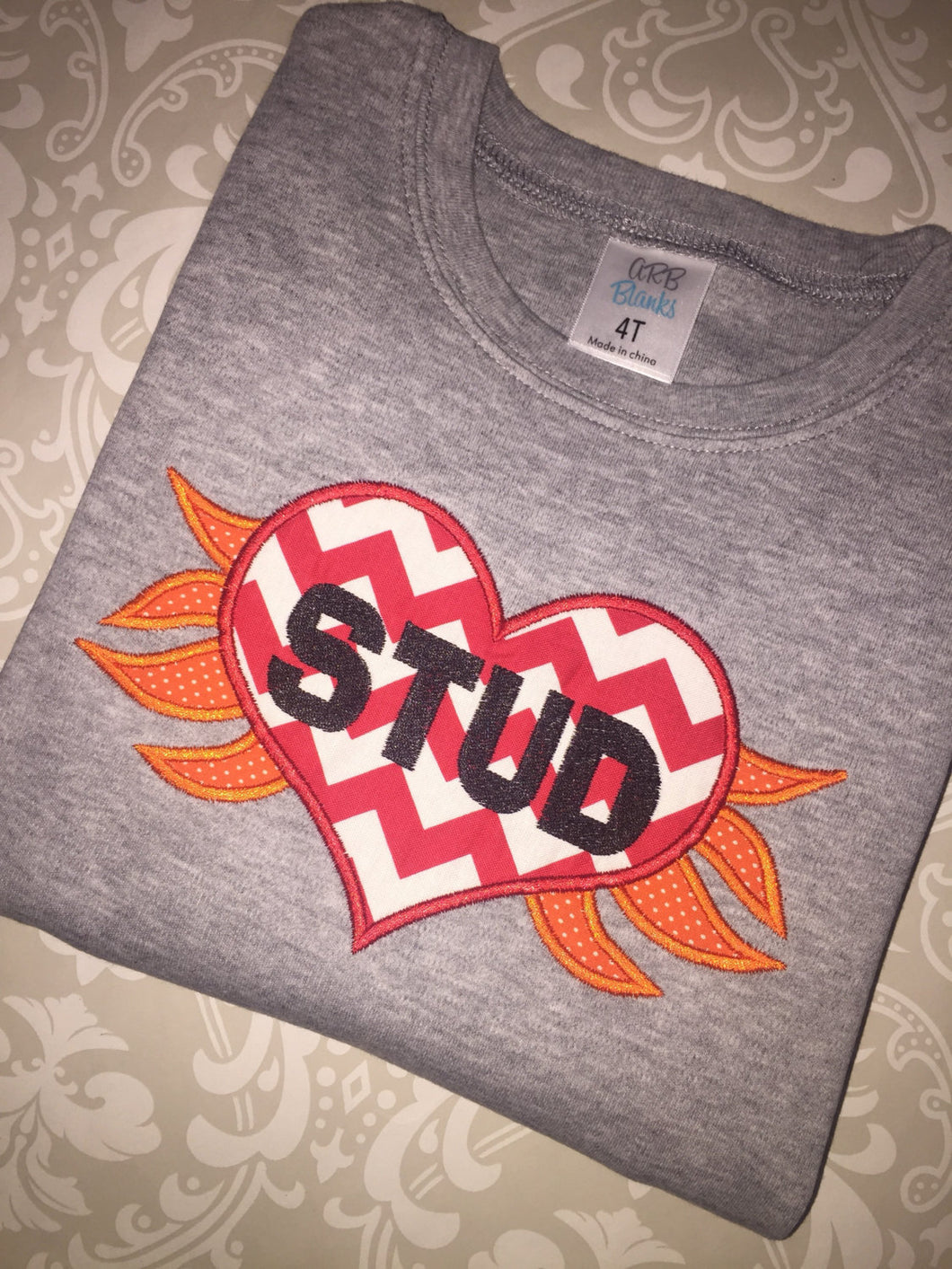 Stud Flaming Heart applique Valentine tee