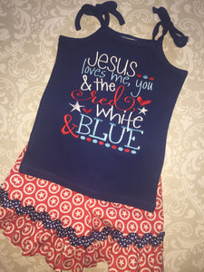 Jesus Loves the red white and blue ruffle shorts and tank