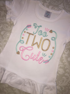 Too Two Cute second birthday tee