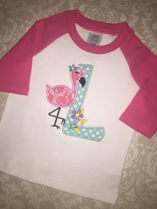 Flamingo monogram raglan