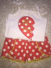 Best friend Heart applique shorts set
