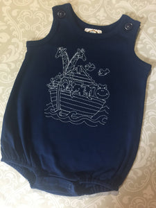 Noah's ark embroidered bubble romper