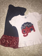 Southern girl Applique pants and ruffle tee outfit