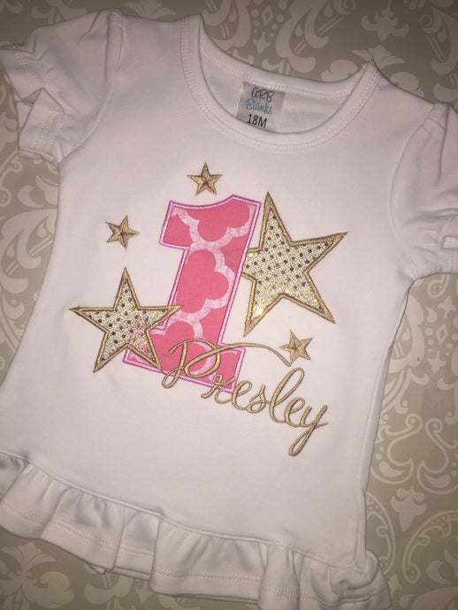 Star Birthday applique monogrammed tee
