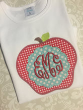 Back to school monogram apple tee