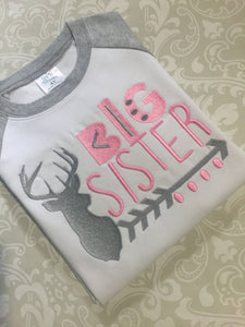 Monogram Deer Little sister big sister raglan Sibling set