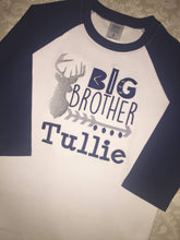 Monogram Deer big brother little brother raglan Sibling set