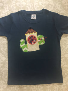Back to school applique pencil tee
