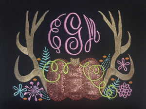 Antlers and Pumpkin monogram tee