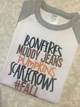 Bonfires Muddy Jeans Pumpkins Scarecrows boys Fall raglan