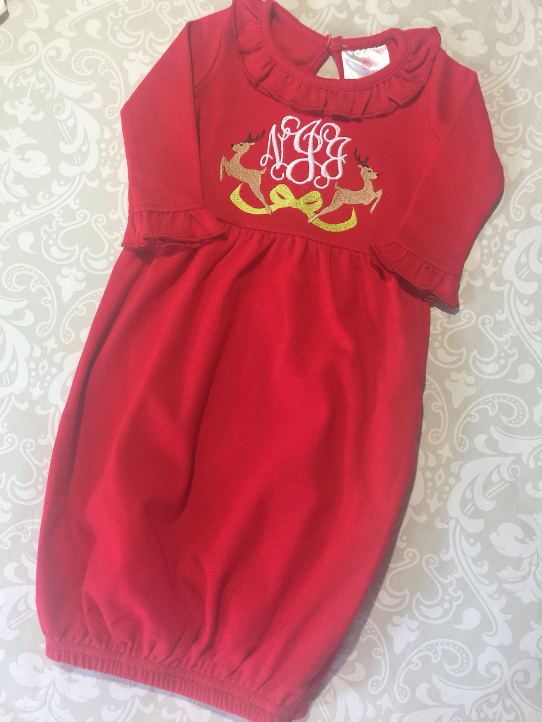 Christmas Monogram baby gown