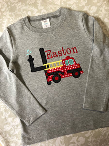 Firetruck applique birthday tee