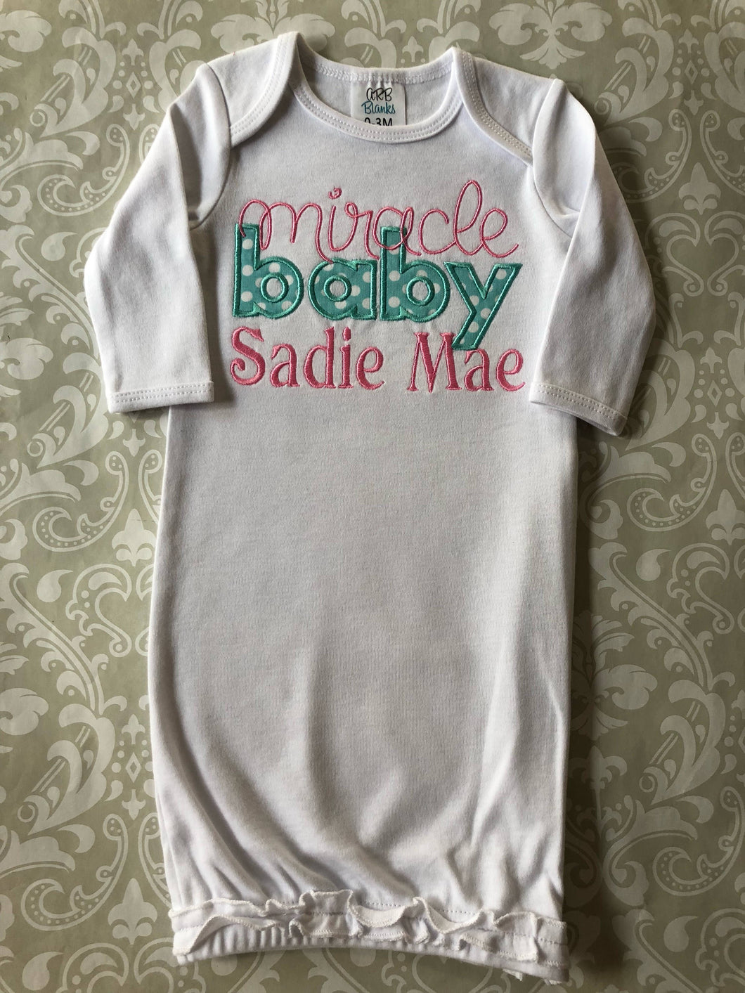 Miracle baby embroidered baby gown