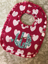 Valentine heart monogram baby bib and burp cloth