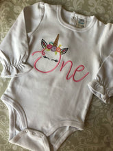 Unicorn One first birthday ruffle pants outfit