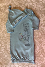Airplane Monogram baby boy gown