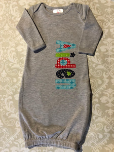 monogram applique gray baby gown