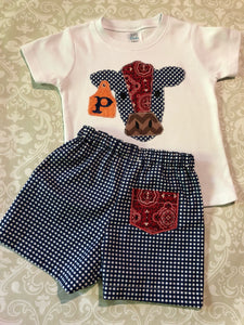 Patchwork monogram cow oufit