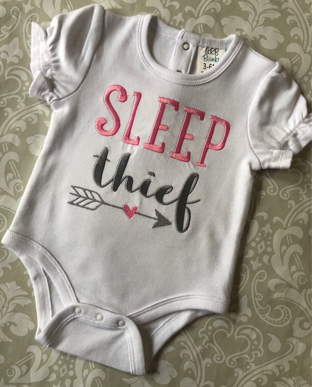 Sleep thief embroidered baby bodysuit