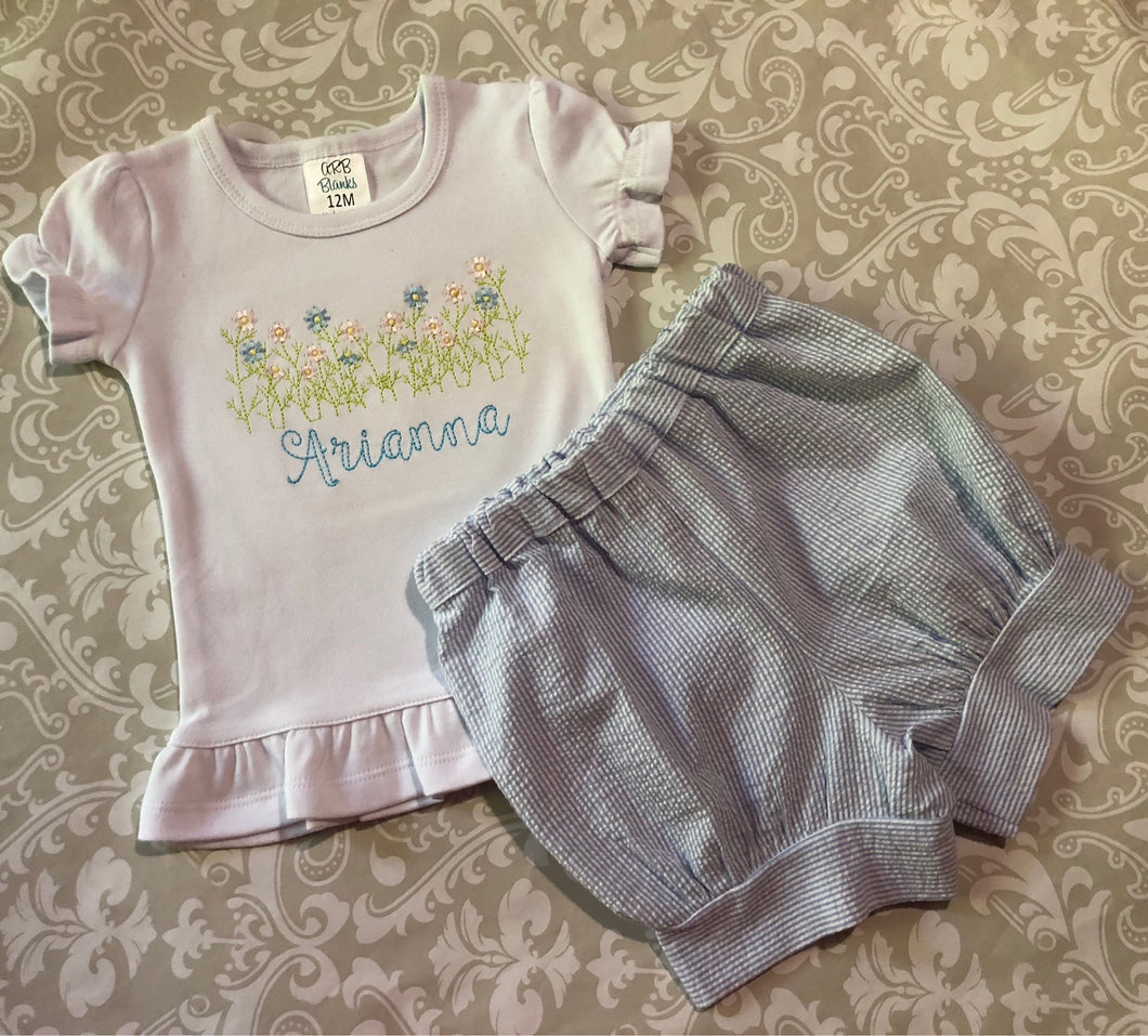 Spring flowers embroidered buble shorts outfit