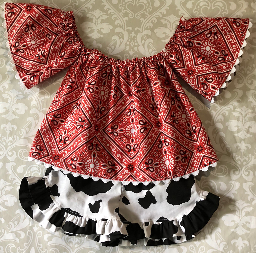 Off the shoulder red bandana top and cowhide print shorts cowgirl outfit