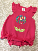 Flower monogram bubble romper