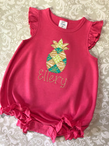 Patchwork Monogram Pinapple bubble romper