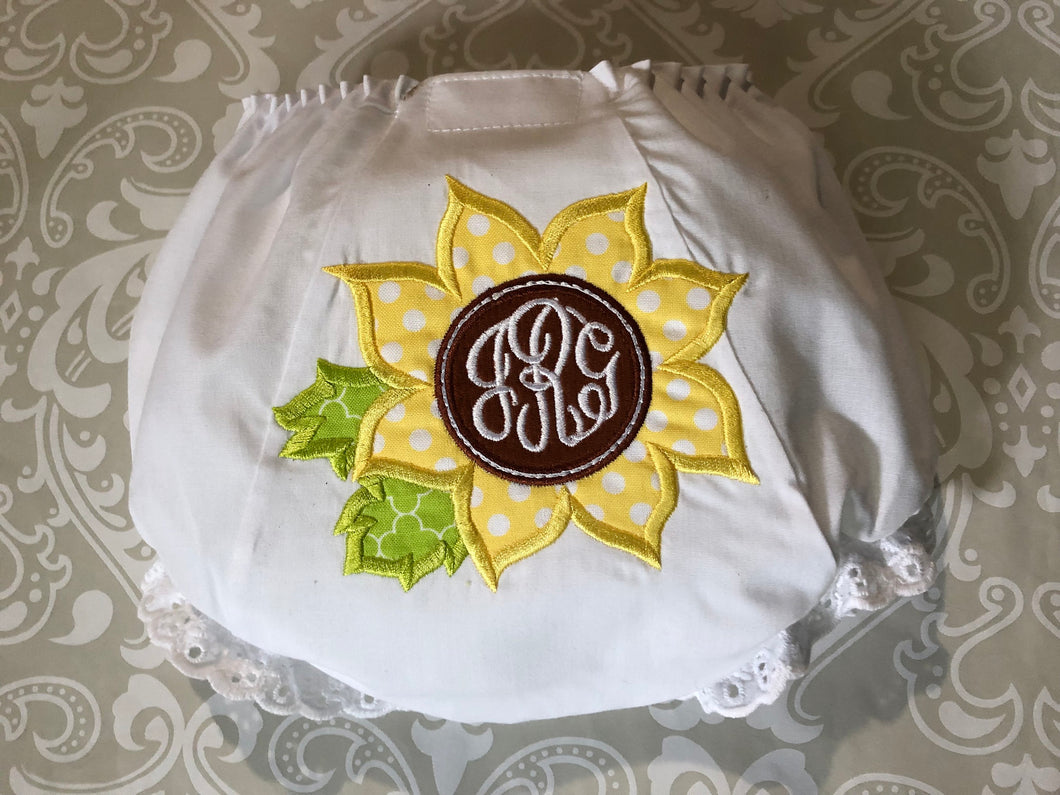 Monogram applique Sunflower bloomer