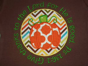 Thanksgiving applique pumpkin tee with bible verse