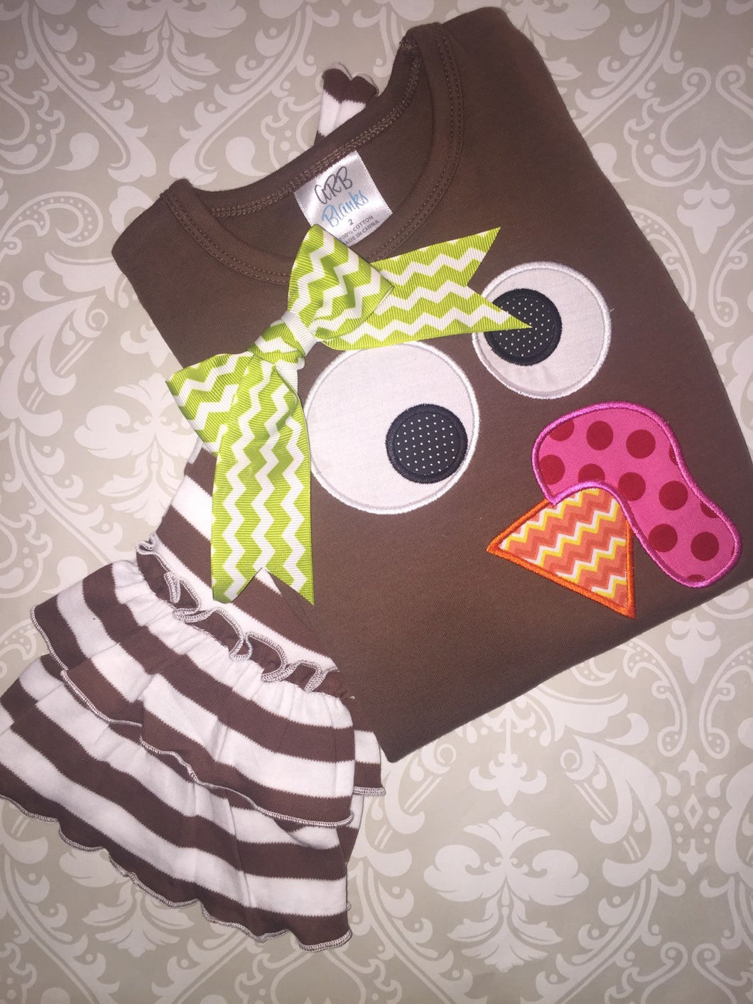Applique Turkey face Thanksgiving outfit