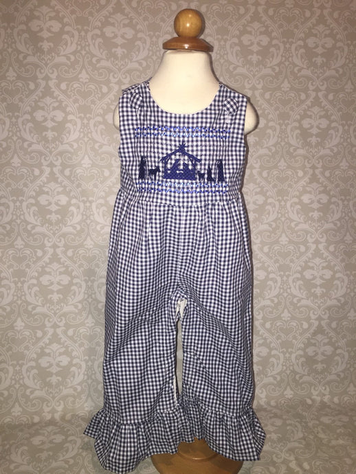 Nativity Faux Smocked romper