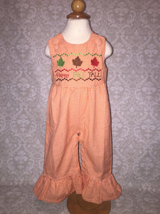 Happy Fall Y'all faux smocked romper