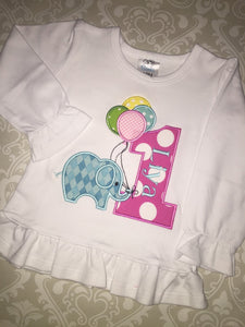 First Birthday applique tee