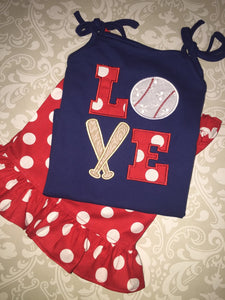 Baseball love applique outfit