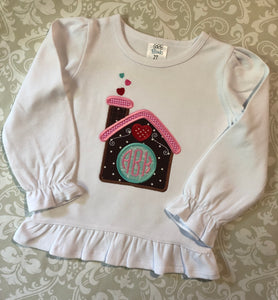 Monogram Gingerbread house girls Christmas outfit or tee