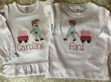 Monogram Valentine tees for twins
