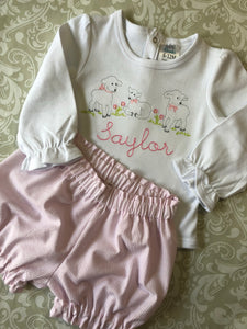 Monogram lamb baby Easter outfit with bloomers