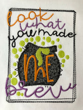 Look what you made me brew embroidered Halloween raglan
