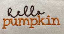 Hello Pumpkin embroidered fall outfit for girls