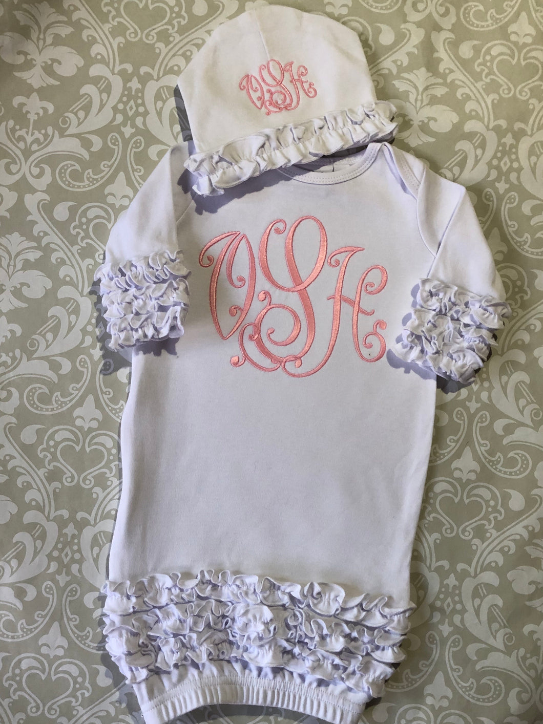 Monogrammed ruffle baby girl gown and hat set
