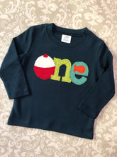 Fishing one first birthday applique tee