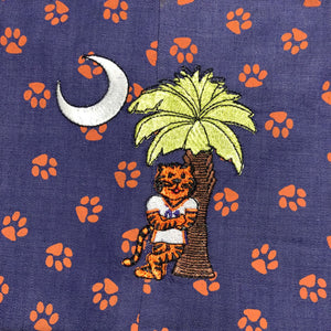 Tiger and Palmetto tree orange paw purple denim Jon jon