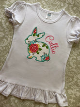 Floral applique bunny monogram Easter outfit