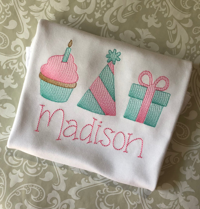 Monogram birthday ruffle tee for girls