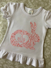 Embroidered monogram Easter bunny outfit for girls