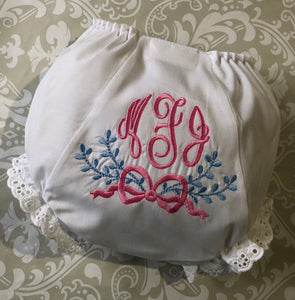 Monogram baby bloomers/diaper cover